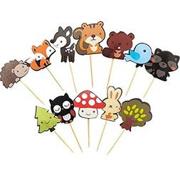 36 pack Cute Woodland Creatures Cupcake Toppers Picks Animal
