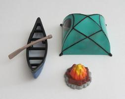 1 Fireside Camp Fire 4 Pc Decoset Camping Tent Canoe Birthda