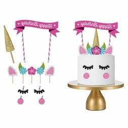 1 Set Unicorn Cake Topper Kids Baby Shower Happy Birthday Pa