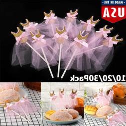 10-30Pcs Gold Silver Glitter Ballerina Cupcake Toppers Pink