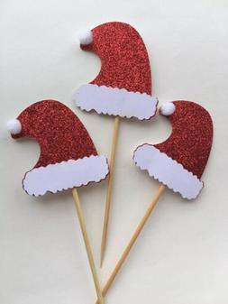 10 Glitter Christmas Hat Cake Or Cupcake Topper