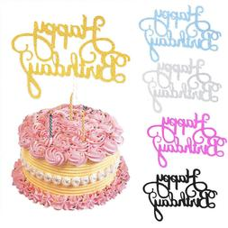 10 pcs Glitter Paper Happy Birthday Cake Topper Cupcake Dess