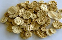100 ivory beige edible sugar paste BUTTONS cupcake topper in