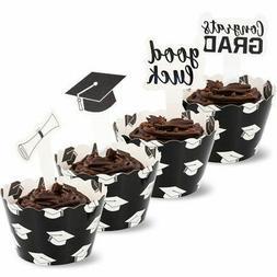 Juvale 100 Piece Set Graduation Party Supplies, Cupcake Wrap