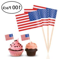 100Pcs American USA Sticks US Flag Party Cupcake Toppers Coc