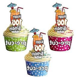 100th birthday cocktail glass precut edible cupcake