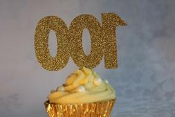 100th Birthday Glitter Cupcake Topper, Set of 12, Various Co