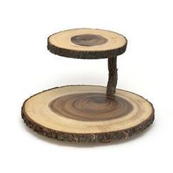 Lipper International 1024 Acacia 2-Tier Tree Bark Server for