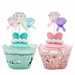 10pc Paper Cupcake Topper Picks Diamond Ring Shape Cake Topp