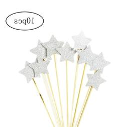 10pcs Cupcake Toppers Glitter Star Cake Toppers for Birthday