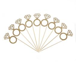 10pcs Diamond Ring Cupcake Toppers Engagement Wedding Party