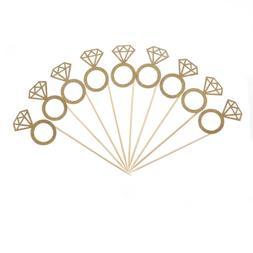 10pcs Glitter Diamond Ring Cupcake Toppers Engagement Weddin