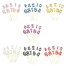 10pcs digital cake topper number cupcake toppers birthday pa