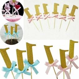 10Pcs First Birthday Cupcake Toppers Boy Girl 1st Year Party