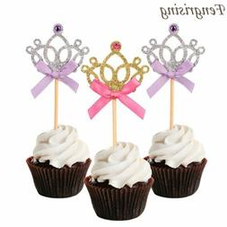 10Pcs Glitter Crown Cupcake Toppers Wedding Birthday Princes