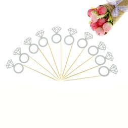 10pcs Glitter Diamond Ring Cupcake Cake Toppers Wedding Cake