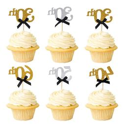 10pcs Gold 30th 40th 50th 60th Years Cake <font><b>Toppers</