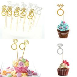 10×Wedding Dessert Diamond Ring Cake Topper Engagement Part