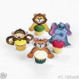 12 Birthday ZOO SAFARI ANIMALS Cupcake PICKS Toppers Lion Mo