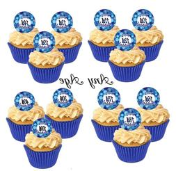 12 Blue Cute Swerl Happy Birthday All Ages Edible Cupcake De
