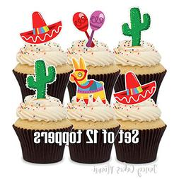 12 Cupcake Toppers MEXICAN FIESTA