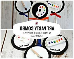 12 each: Art Painting Party Cupcake Toppers and Favor Tags
