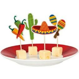 12 FIESTA CUPCAKE PICKS TOPPERS MEXICAN PARTY TABLE DECORATI