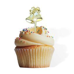 12 Gold Bells Cupcake Cake Picks Weddings Anniversary Topper