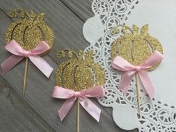 12 Gold Glitter Pumpkin Cupcake Toppers With Pink Bow, Littl
