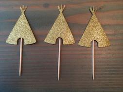 12 Gold Glitter Teepee Cupcake Toppers, Wild One, Tribal, Bi