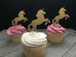 12 gold glitter unicorn cupcake toppers/unicorn party/unicor