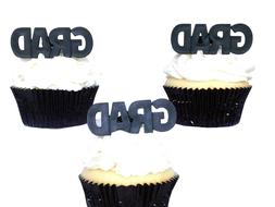 12 GRAD Graduation Rings Cupcake Rings Toppers Party Favors