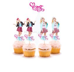 12 Jojo Siwa Girl Cupcake Cake Topper Food Pick Favor Party