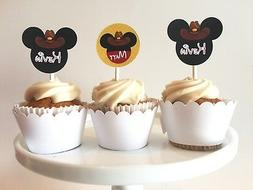 12 Mickey Cowboy Cupcake Toppers, Western Mouse Cake Picks,