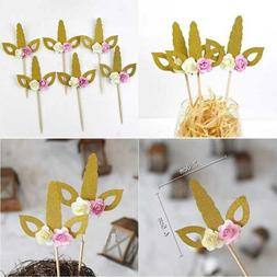 12 Pack Gold Glitter Unicorn Cupcake Toppers Birthday Party