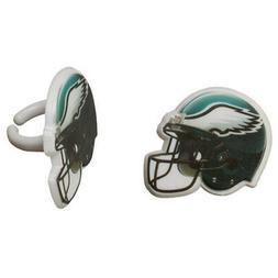 12 Philadelphia Eagles NFL Football Cupcake Ring Topper Deco