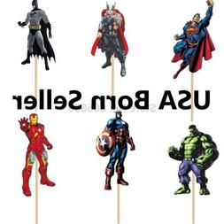 12 Pieces Cupcake Topper Cake Picks AVENGERS Hulk Iron Man T