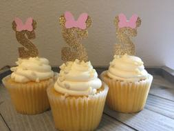 12 Pink & Gold Glitter Minnie Mouse 2nd Birthday Cupcake Top