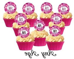 12 Pink Cute Swerl Happy Birthday All Ages Edible Cupcake De