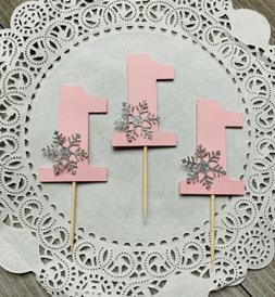 12 Pink One Cupcake Toppers With Silver Glitter Snowflake, W