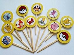 12 pokemon cupcake toppers party favor birthday