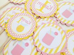 12 - Cupcake Toppers - Pink Lemonade Stand Happy Birthday Co
