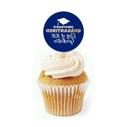 12 Quarantine Graduation 2 inch Round Cupcake Toppers Class