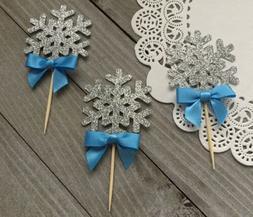 12 Silver Glitter Snowflake Cupcake Toppers, Winter Wonderla