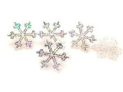 12 Snowflake Rings Cupcake Sparkling Toppers Christmas Decor