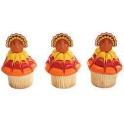 12 Turkey Cupcake Rings Toppers Thanksgiving Decorations Par
