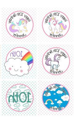 12 Unicorn Cupcake Toppers Clouds Happy Birthday Picks Custo