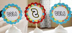 12 - Cupcake Toppers - Lego Inspired Happy Birthday Collecti