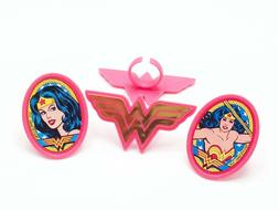 12 Wonder Woman Cupcake Rings Toppers Party Favors
