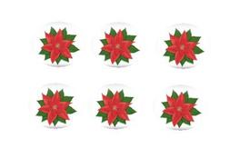 12ct Poinsettia Edible 3inch Large Cupcake/Cookie Image Kit